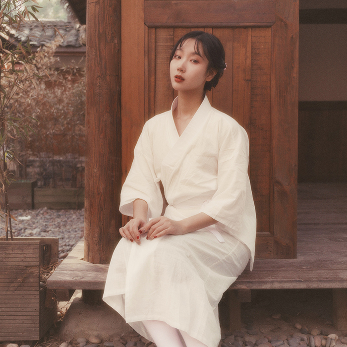 Traditional Yukata Cotton Linen Vintage Long Robe Stage Performance Clothes White Women Kimono Japanese Style Cosplay Costume
