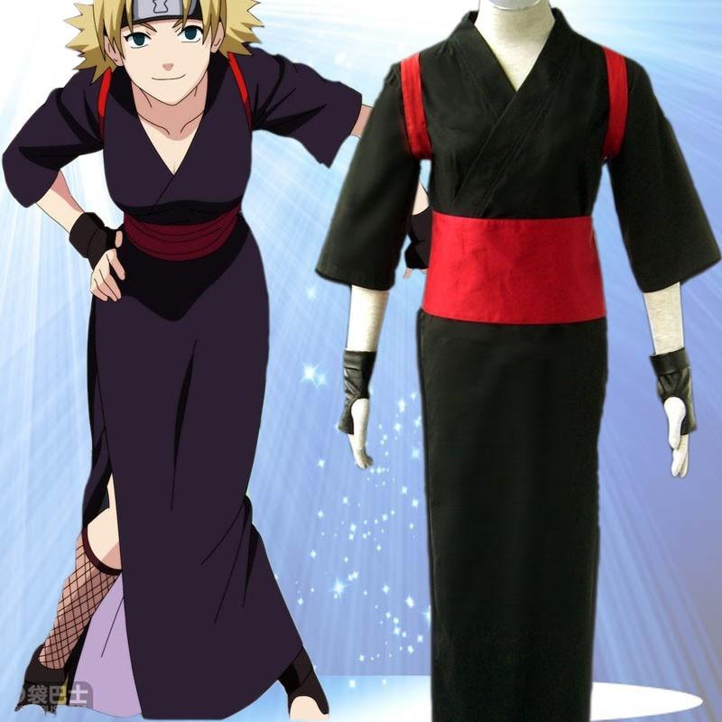 Naruto Temari Cosplay Black Women's Kimono Cosplay Costume