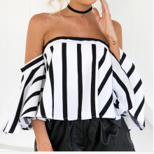 Women Sexy Strapless Printing Striped Shirt Blouse Lady Sexy Chiffon Top Shirt Female Crop Top Off Shoulder Blusa Cool Blouse