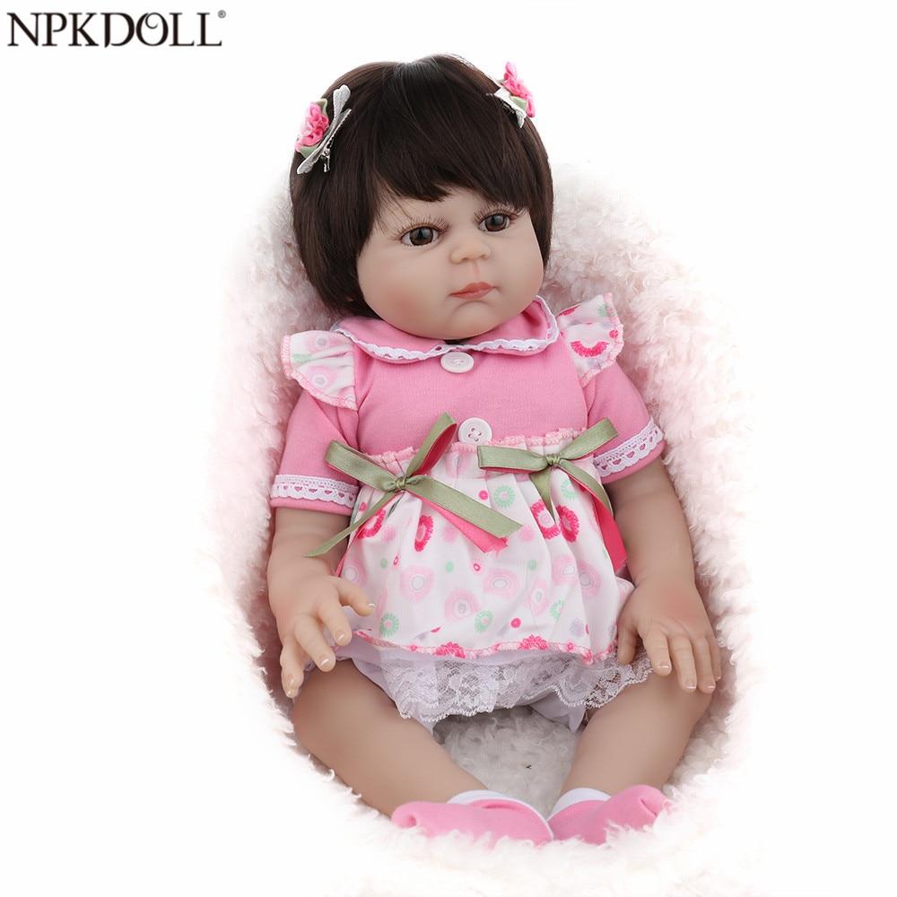 NPKDOLL 17 pouces Reborn bébé poupée pleine vinyle rose princesse fille Liflike nouveau-né bain bébés Collection cadeau d'anniversaire mignon Boneca