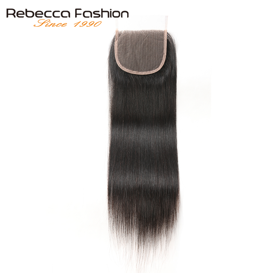 Rebecca Brazilian Straight Hair Top Closures 4x4 Free Middle Three Part Remy Human Hair Lace Closure Natural Color 8-20 Inch