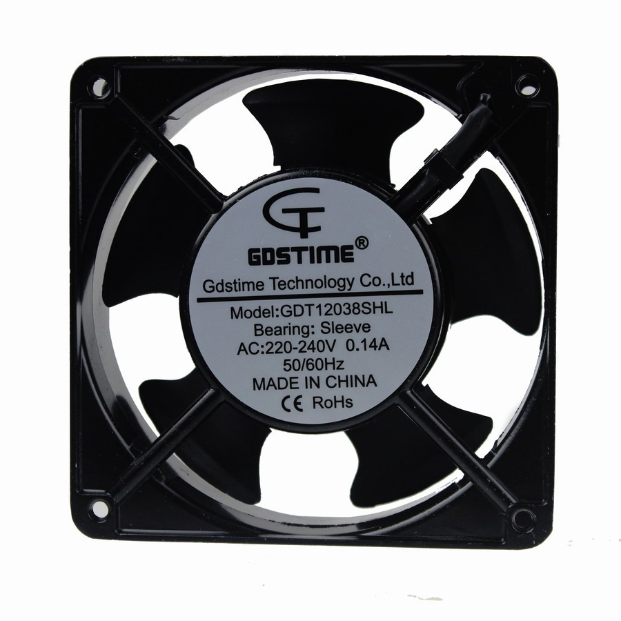 Gdstime 1 pcs 220V 240V AC Fan 2 Wires 120mm x 38mm 120x120x38mm PC Case System AC Cooling Fan 12038 12cm free delivery original afb1212she 12v 1 60a 12cm 12038 3 wire cooling fan r00