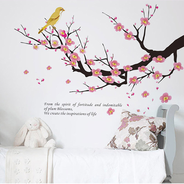 birds on branch plum flowers tree pvc wall art stickers living room ...