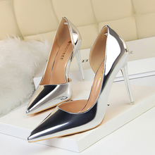 High heels 2019 European and American style simple fine with metal with high-heeled shallow mouth pointed side hollow sexy shoes free shipping stylish and elegant high heeled shoes of fine silk surface shallow mouth pointed diamond pearl word strap sandals