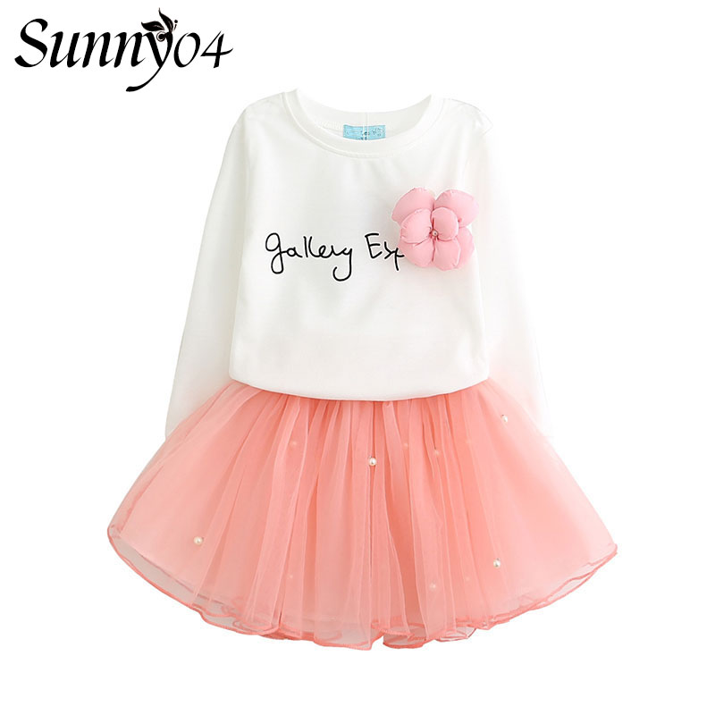 Lovely Girls White Tee Shirt + Pink Skirt with Rhinestone Clothes Sets For Kids Girl 2018 New Spring Children Clothing Set Suit retail design children clothing set for kids girl dark blue cardigan t shirt pink skirt high quality 2014 new free shipping