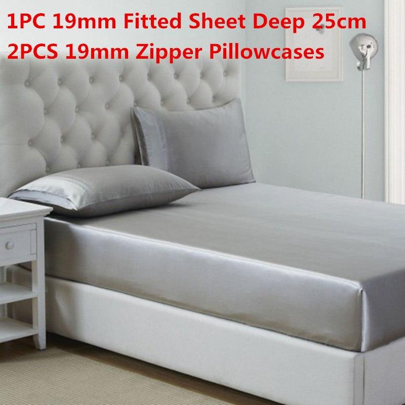 Bedding Sets Bedding Alert 100% Mulberry Silk Bedding Sets 3pcs 19mm Silk Fitted Sheet Deep 25cm&zipper Pillowcase Solid Dyed Silk Sheet Sets Multi Size