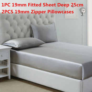 100% Mulberry Silk Bedding Sets 3PCS 19MM Silk Fitted Sheet Deep 25cm&Zipper Pillowcase Solid Dyed Silk Sheet Sets Multi Size - DISCOUNT ITEM  20 OFF Home & Garden