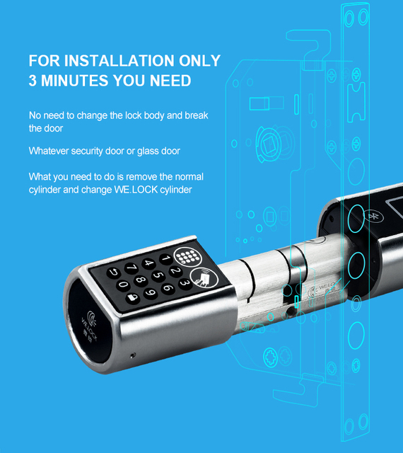 L5PC+B Smart Home Code Door Lock Cylinder Bluetooth Electronic Door Lock Cylinder Unlock by Code Card & Bluetooth Mobile App