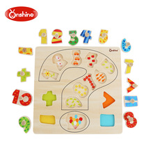 ONSHINE 28CM Kid wooden digital cognitive puzzle toy Early Learning educational toys baby hand grasp child wood jigsaw toy