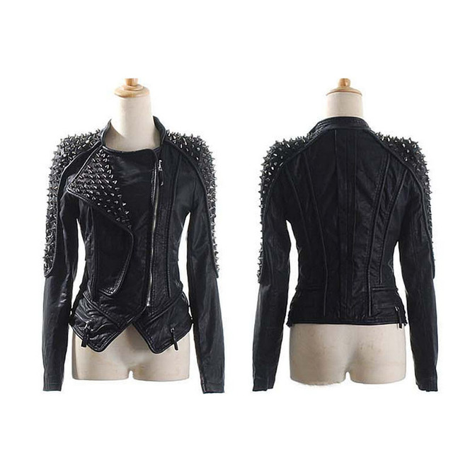 73e05854d39 2016 Spring Autumn Women PU Leather Rivets Jackets Motorcycle Punk Coats  Female Short Plus Size Casual Jacket 4XL 5XL 6XL W140