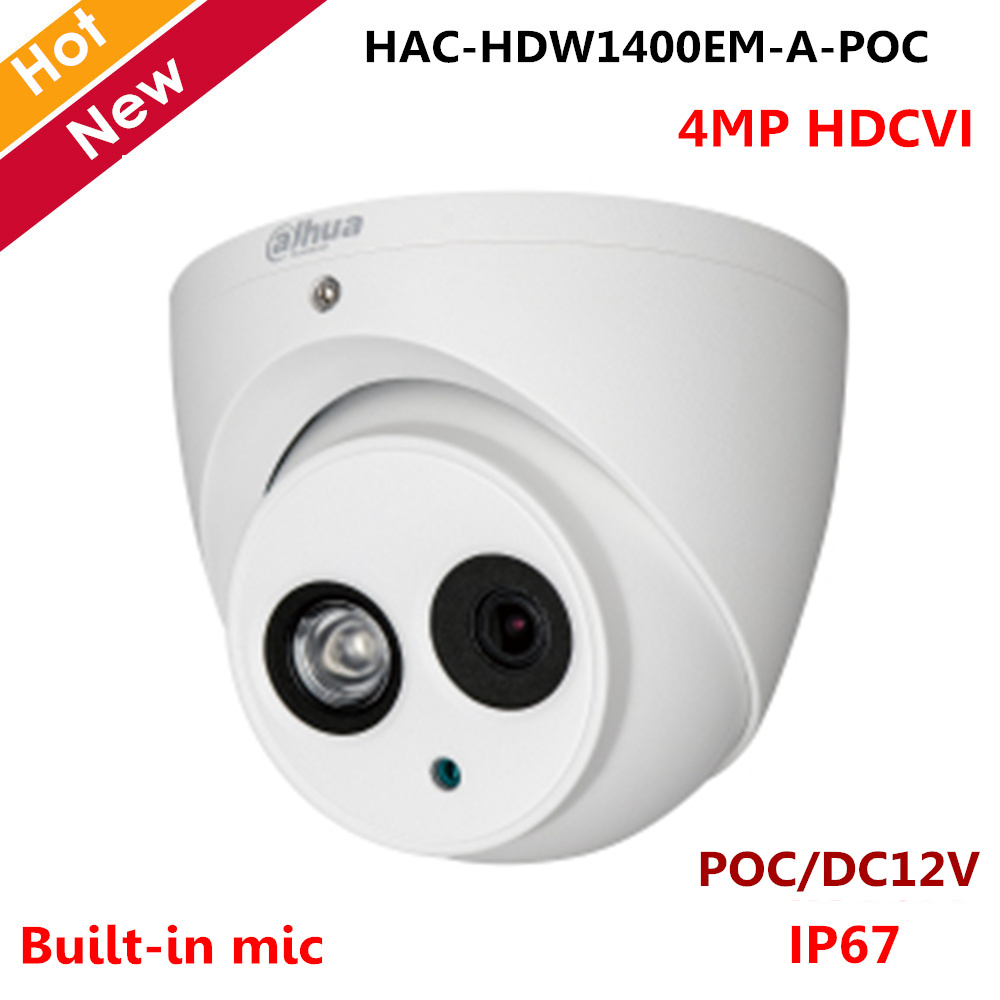Dahua 4MP HDCVI Camera POC Camera HAC HDW1400EM A POC Built in mic IR 50m POC DC12V for Indoor Outdoor IP67 CCTV Camera-in Surveillance Cameras from Security & Protection    1
