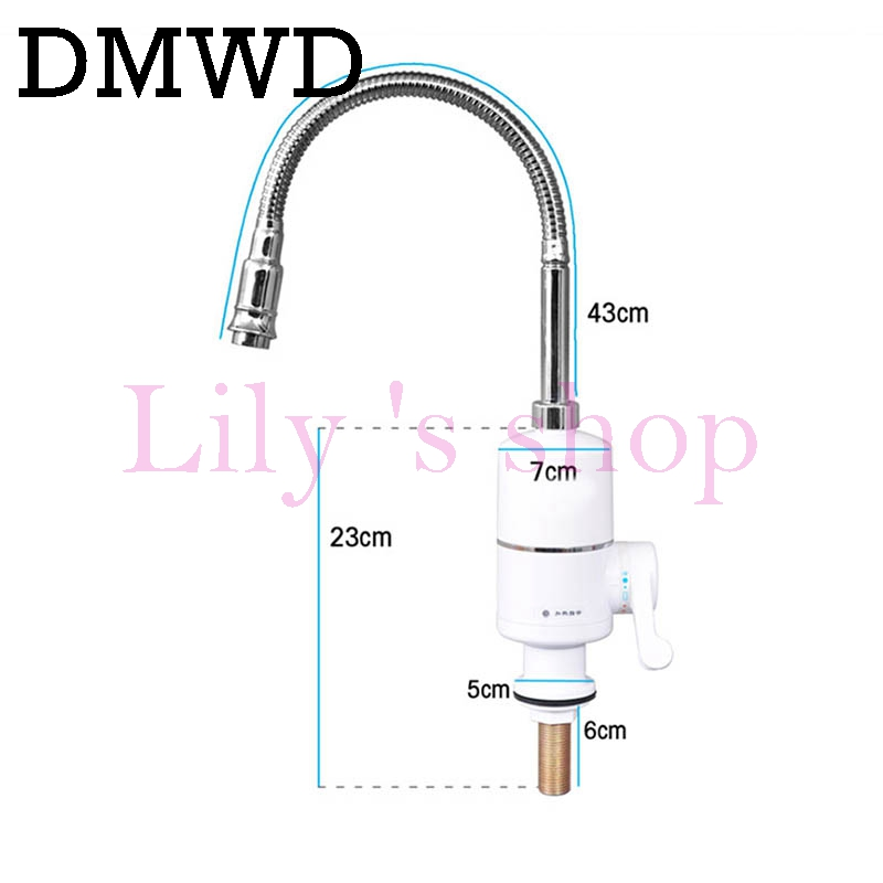 DMWD 3000W Electric hot Water Heater Stainless Steel Kitchen Instant cold Heating Tap tankless Heating Faucet with flexible Pipe