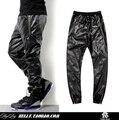 2017 Caliente de Calidad Superior de imitación de cuero pantalones del ocio de Los Hombres de hip hop y Llano negro Faux de LA PU de la chaqueta de Cuero de cocodrilo pantalones