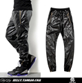2017 Hot Top Quality faux leather hip hop pants Men's leisure and Plain black alligator Faux PU Leather jacket pants