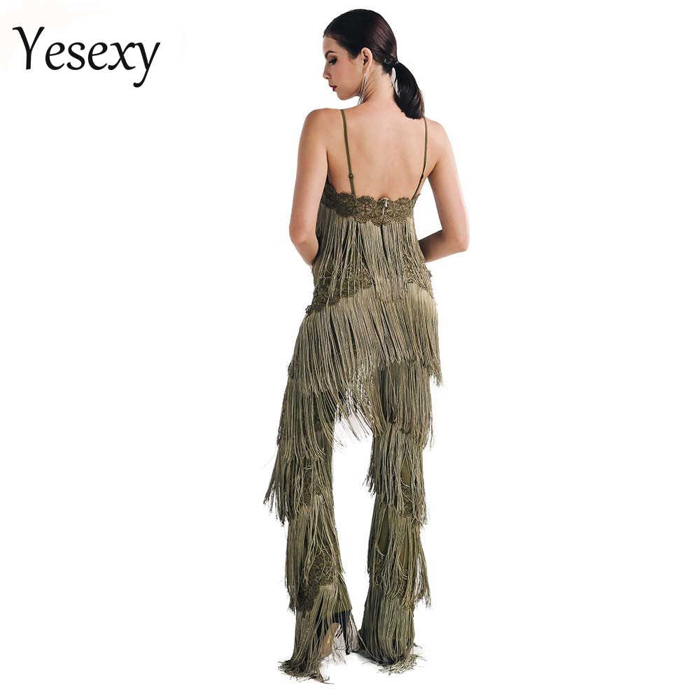 Yesexy 2020 קיץ סקסי ללא שרוולים צווארון V ללא משענת תחרה ציצית נשים סרבל מוצק צבע Rompers סרבל VR4661