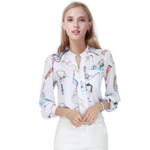 Female Fashion Printed blouses shirts women Chiffon blouse shirt tops blusas feminina Long Sleeve ladies clothing