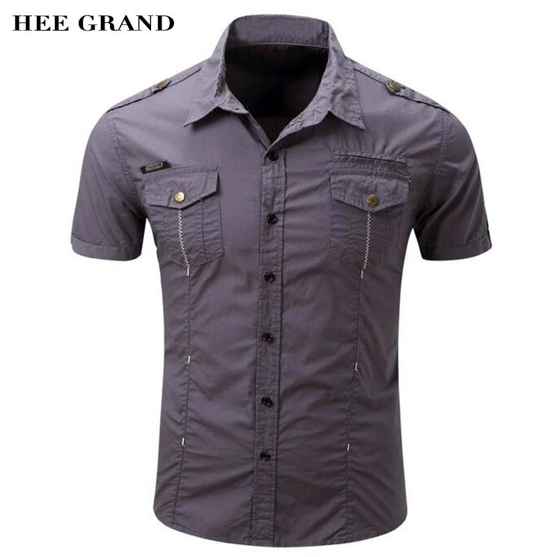 HEE GRAND 2017 New Arrival Mens Cargo Shirt Casual Solid Color US Size Whole Cotton Material Short Sleeve Summer Shirts MCS648