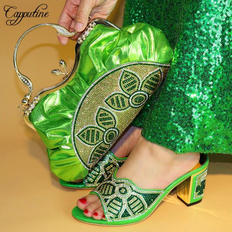4b2b0855 Y Diseño Bonita El 590 Azul verde 2018 Último Bolso Para Italiano Verde Del Mujer  Bombas Color oro naranja Zapatos Tx Bolsa Africana Partido Set Capputine ...