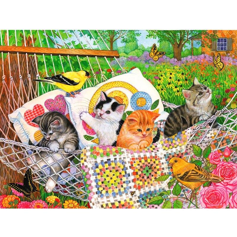 Full Square Drill Diamond PaintingCartoon Animal Swing Into Summer GardenDaimond Painting Diamond Embroidery Painting LE01563
