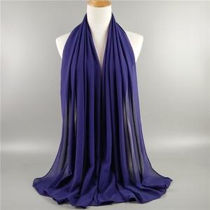 Image 4 - 뜨거운 90 색 고품질 일반 거품 시폰 스카프 목도리 이슬람 hijab 여성 머리띠 스카프 shawls 10 개/몫