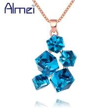 Almei Choker Blue Rainbow Necklace Geometric Square Stone For Women Rose Gold Color Long Necklaces & Pendants Jewelery GR125