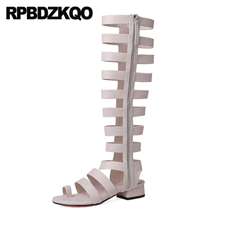 a790be27ac4c Roman Shoes Chunky Strappy Genuine Leather Low Heel Gladiator Strap Open  Toe Ring Knee High Sandals Designer 2018 Thick Women-in Middle Heels from  Shoes on ...