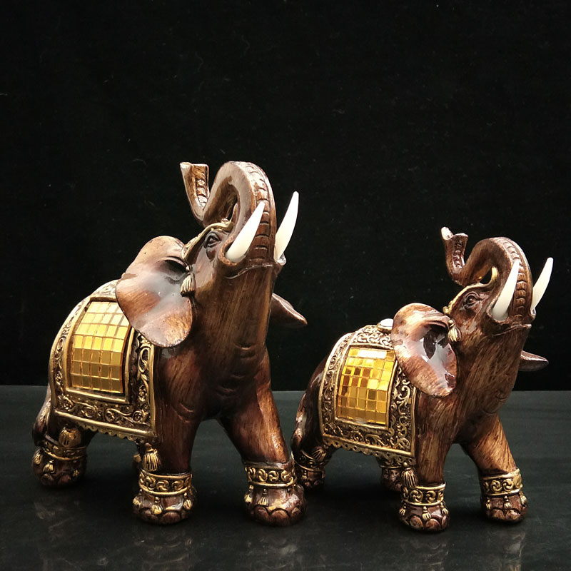Decorative Elephant Figurines Resin Animals Home Decoration Elephant Statues with Trunk Up Collectible Gifts Garden Figures