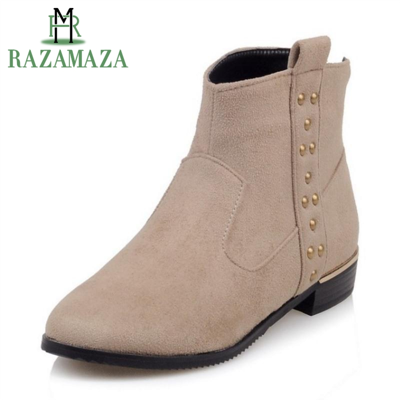 RAZAMAZA Women Winter Boots Rivets Fur Warm Ankle Boots Round Toe Shoes Woman Fashion Simple Ladies Boots Footwear Size 33-42