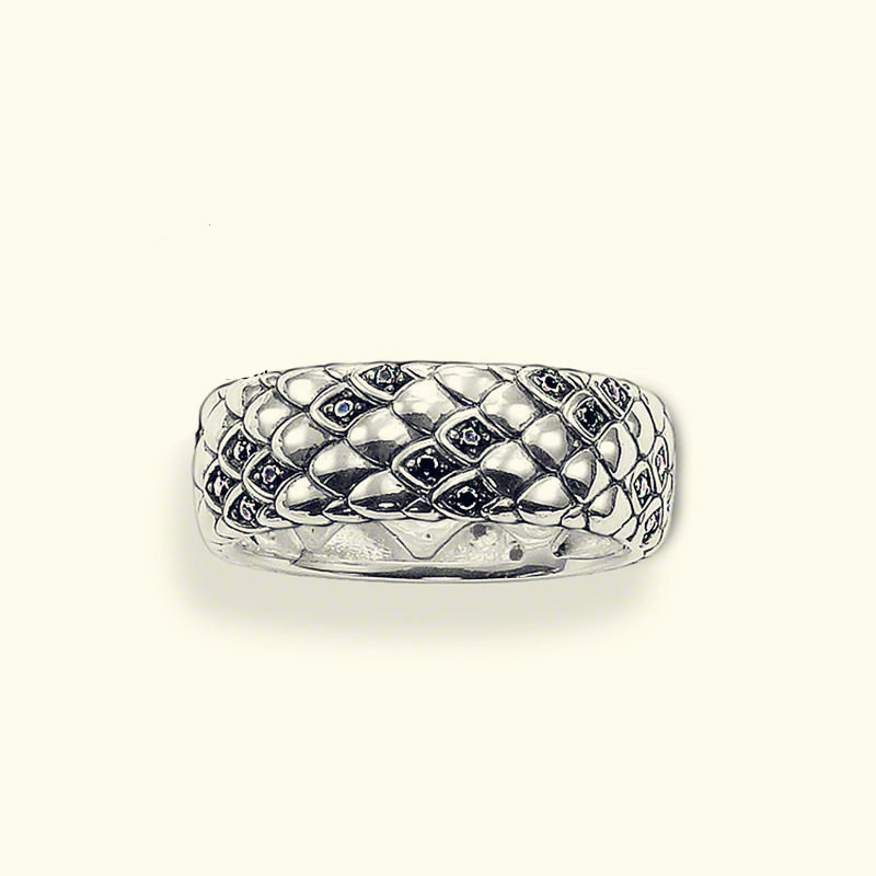 Hot sale silver-plated Rings snake silver black zirconia size 8 women ring Glam and soul style Ring new fashion Jewelry