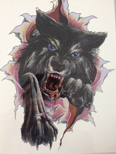 21 X 15 CM Ferocious Black Wolf Tattoo Stickers Temporary Body Art Waterproof #130