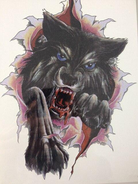 21 X 15 CM Ferocious Black Wolf Tattoo Stickers Temporary Body Art Waterproof #130
