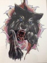 2016 Hot Sale21 X 15 CM Ferocious black wolf Tattoo Stickers Temporary Body Art  Waterproof #130