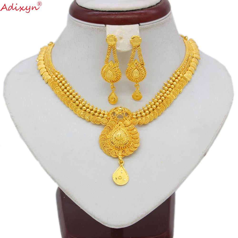 Adixyn Ethiopian Jewelry Gold Color Jewelry Set For Women Girls 45cm Chokers Chain/Earrings Ethiopian Party Gifts N06089(China)