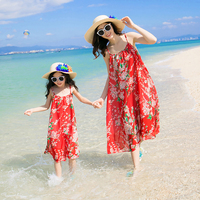 Ju1719 Summer Fashion Beach little Girls Dress Casual Lady Dress Family Matching Outfits Clothes Mother&Daughter Bohemian Dress