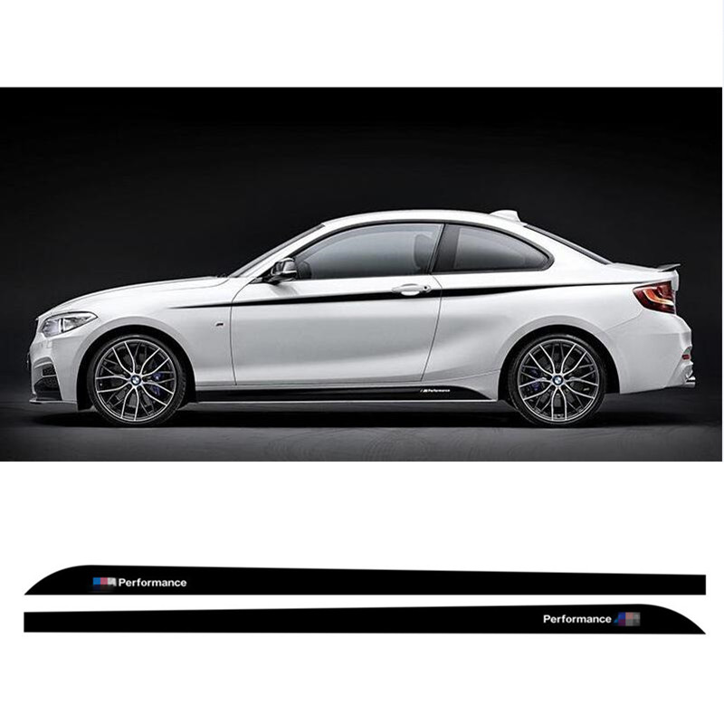 Charming Horse 2168 Store Gloss/Matte/5D Black M Sport M Performance Side Skirt Racing Stripe Sticker Decals For BMW 2 series F22 F23 220i 228i 235i