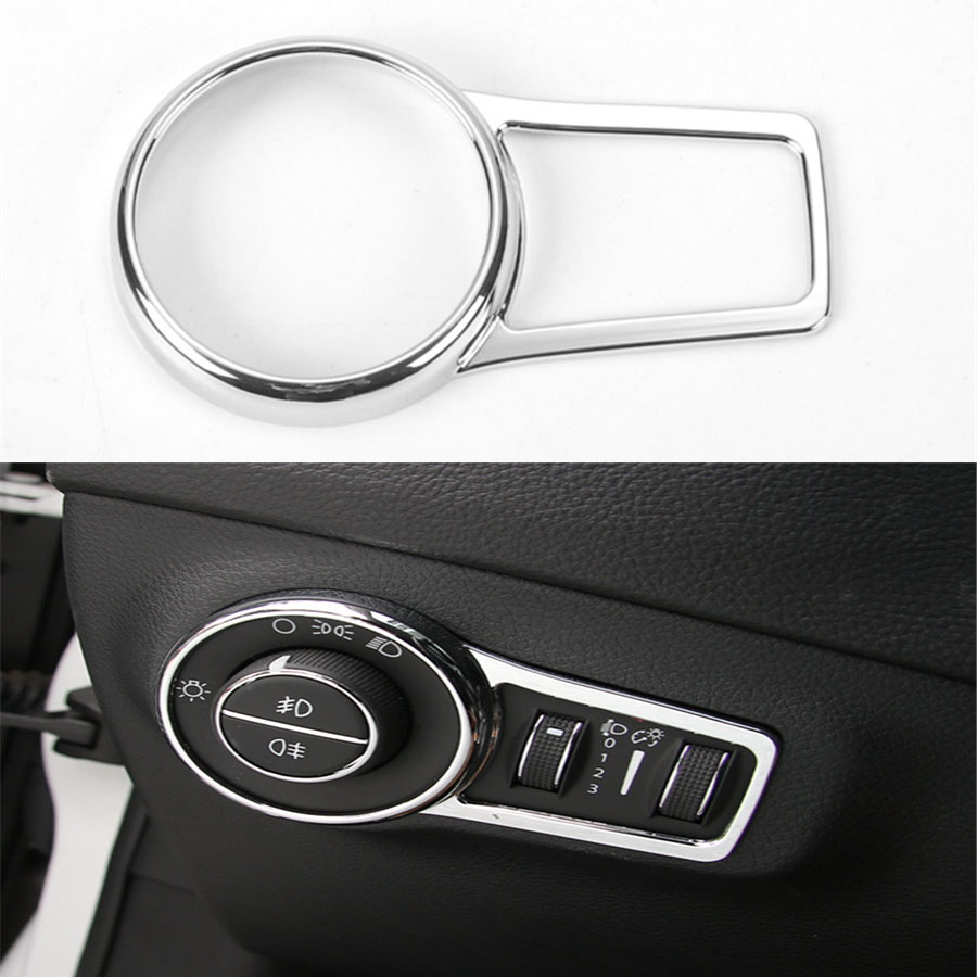 YAQUICKA For Jeep Compass 17+ Interior Headlight Lamp Button Switch Decorative Trim Frame Ring Sticker Cover ABS Car Styling