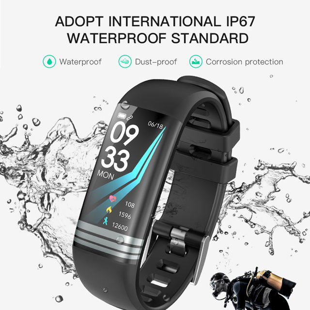 Smart Fitness Bracelet Color Screen Waterproof Heart Rate Blood Pressure Oxygen Multi Sport Mode