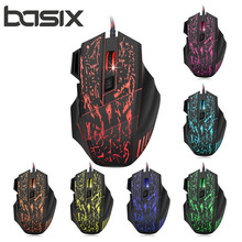 BASIX Professional Wired Gaming Mouse 5500DPI Adjustable 7 Buttons Cable USB Optical Gamer Mice For PC Computer Laptop