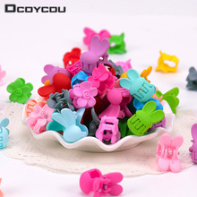 20PCS The New Hair Clips Mini Small Candy Colors Flowers Rabbit Ears Children Clip Claw Girls
