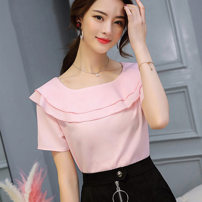 Large size Summer women Blouses Korean style Solid Color Office Lady Shirts Short Sleeve Female Tops Plus Size Women Clothing