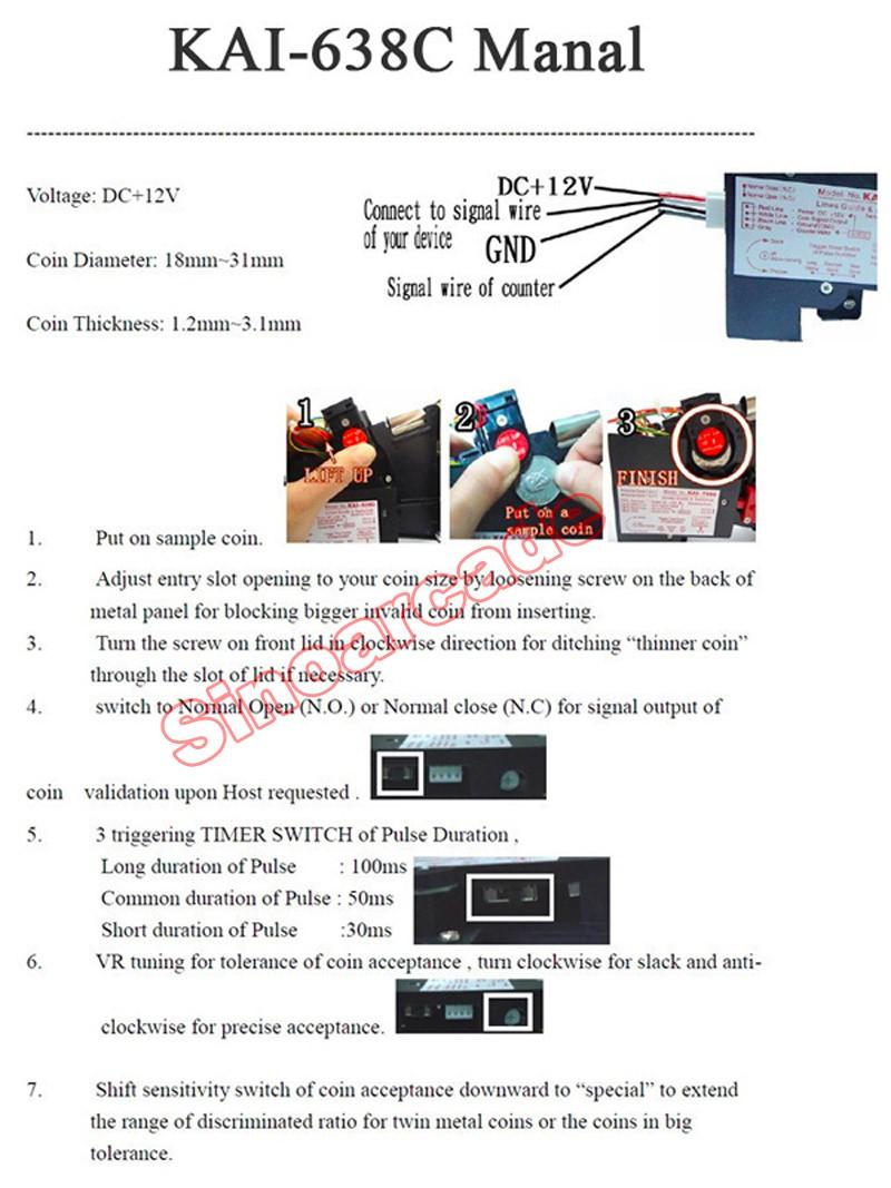 KAI-638C Coin Acceptor manual