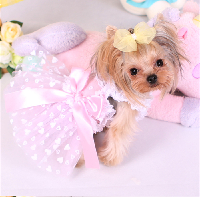Small Dog Clothes Spring And Summer Pet Dress Cat Skiet Cute ...