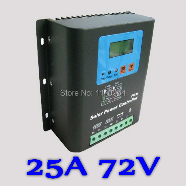 25A 72V Solar Charge Controller, Home Use 72V Battery Regulator 25A for Max 1800W PV Solar Panels Modules, LED&LCD Display 20a 12 24v solar regulator with remote meter for duo battery charging