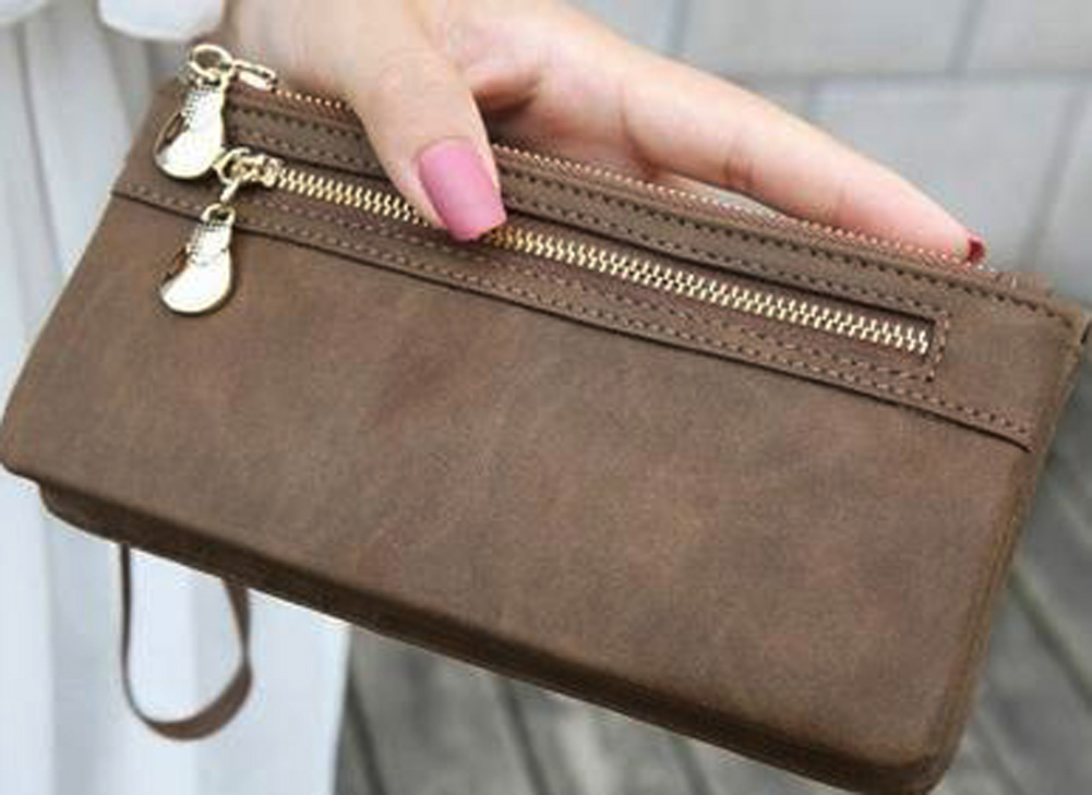 New Arrival Women Fashion Vintage Double Zipper Dull Polish Leather Long Wallet Handbag 2018 AB@W