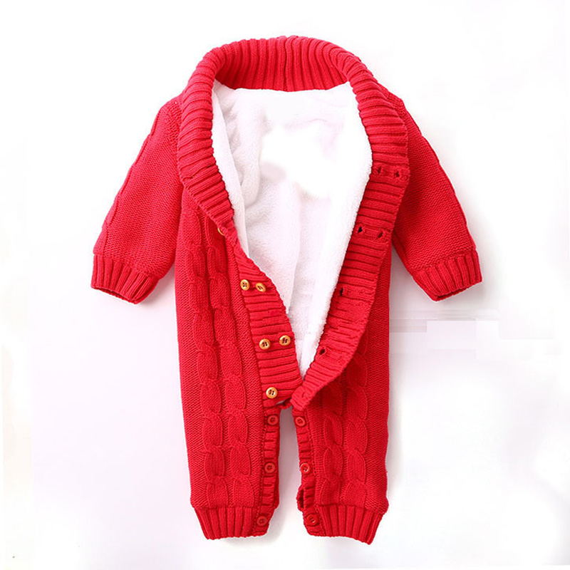 Newborn Baby Rompers Winter Sweater  Overalls Thick Fleece Cotton Sweater Outfits Double Breasted Boy Girl Romper Kids Jumpsuit baby rompers infant thick cotton jumpsuit newborn solid long sleeve overalls ropa bebes toddler sweater baby girl boy clothes