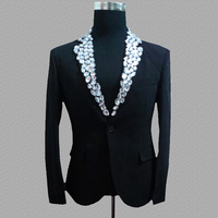 Diamond blazer men suits designs jacket mens stage costumes for singers clothes dance star style dress punk rock black white