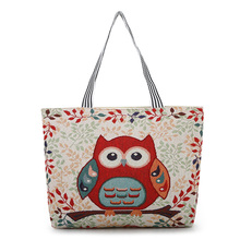 Cartoon Shopping Bag Light and Large 100% Cotton Shoulder Bag for Women Cute Owl Embroidery Leisure Bag Canvas Rural Handbag cute owl print and canvas design shoulder bag for women