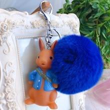 Cute Cartoon Totoro kangaroo panda unicorn Keychain Car Rabbit Fur Pompom Fluffy Key Chains Holder Keyring Pendant