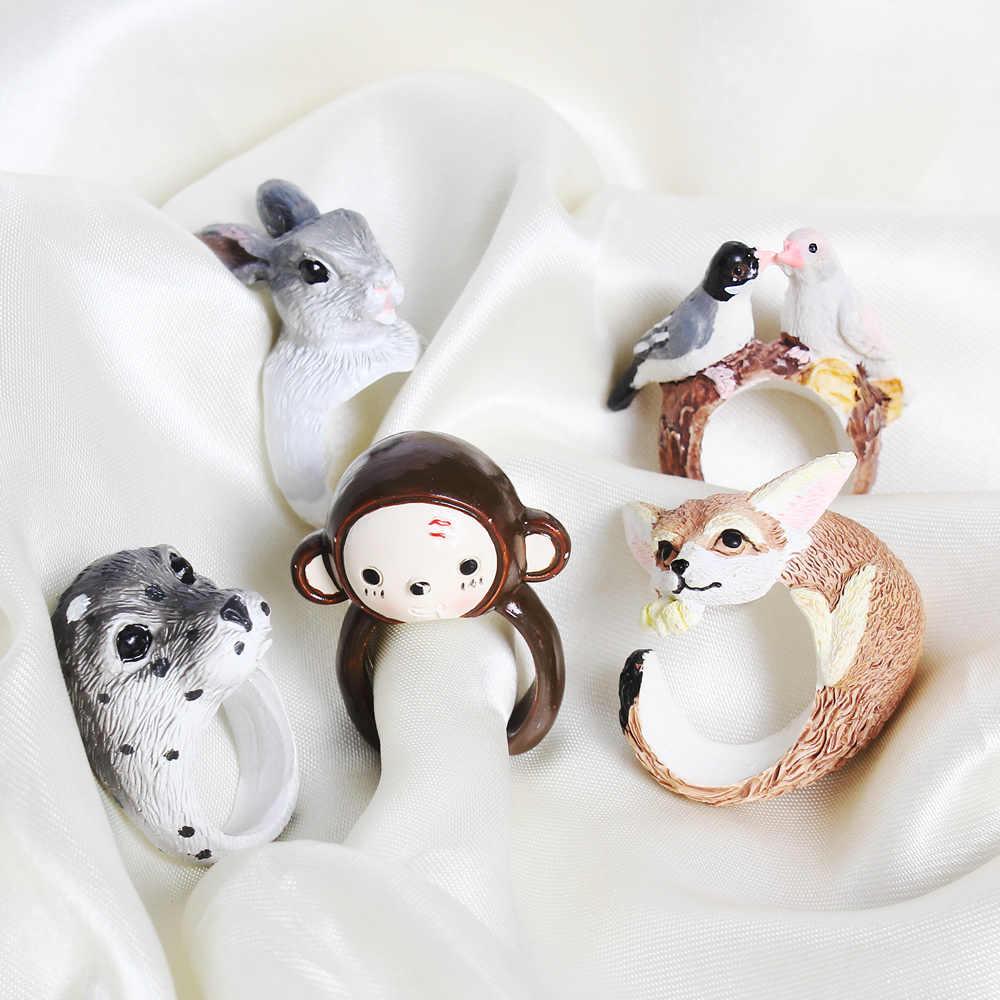 Yyw quente novo dos desenhos animados animais anéis de dedo macaco amante pássaro cão raposa coelho pinguim mulheres bonito 3d aberto cuff animal anel festa