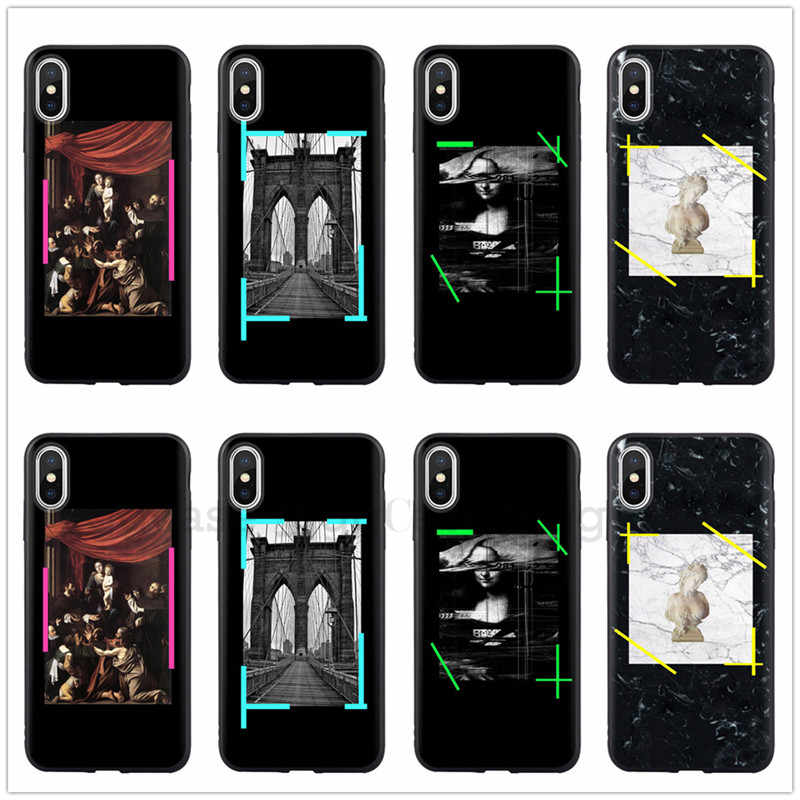 Hot off ow stripes cover case for iphone 6 S 7 7plus 8 8plus X 10 XR XS MAX white Classic painting soft silicon phone cases
